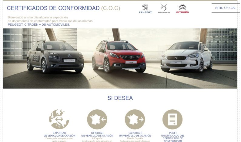 COC Citroën o DS Automobiles: 200€ por cada certificado de conformidad.